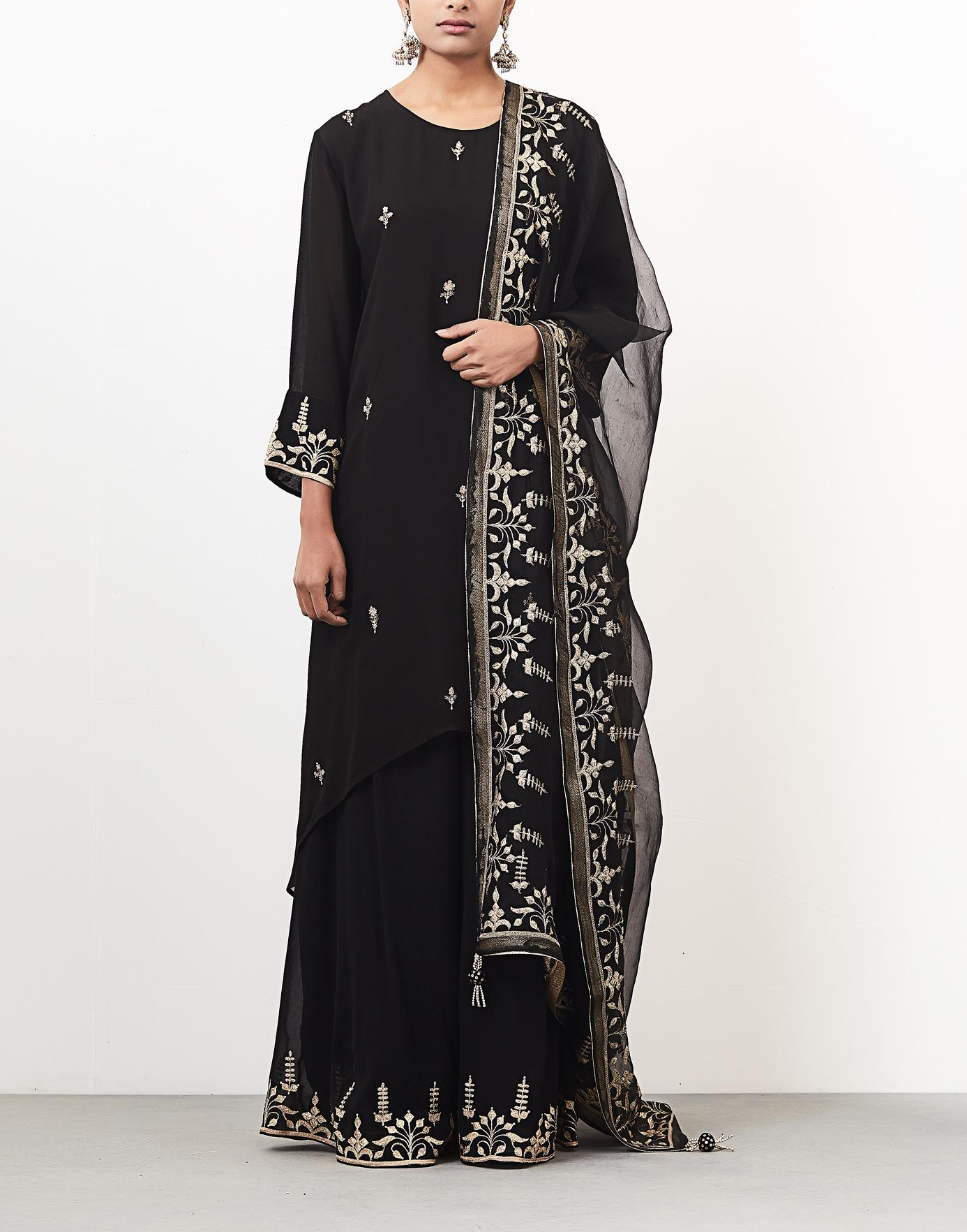 db9888efa6 Black and Gold Hand Embroidered Asymmetrical Tunic Set-ANJU   HARLEEN ...